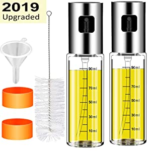 CHUANGSIxx 2Pcs Olive Oil sprayer Mister for Cooking 3.4-Ounce Capacity Food-grade Glass Bottle Vinegar Mist Spray Dispenser for BBQ Salad Baking Roasting Grilling Frying, Bonus a Cleaning Brush
