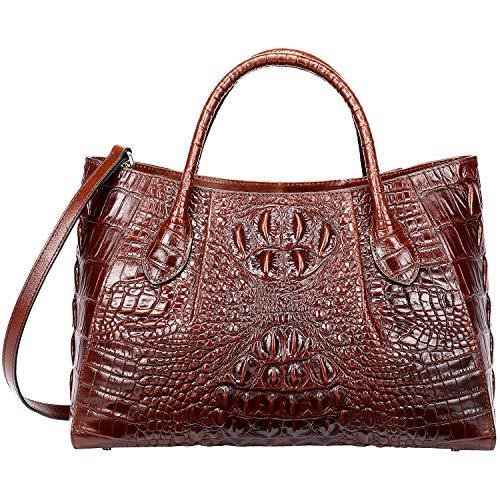 - PIJUSHI Women Handbags Crocodile Top Handle Bag Designer Satchel Bags For Women (5002A, Brown)