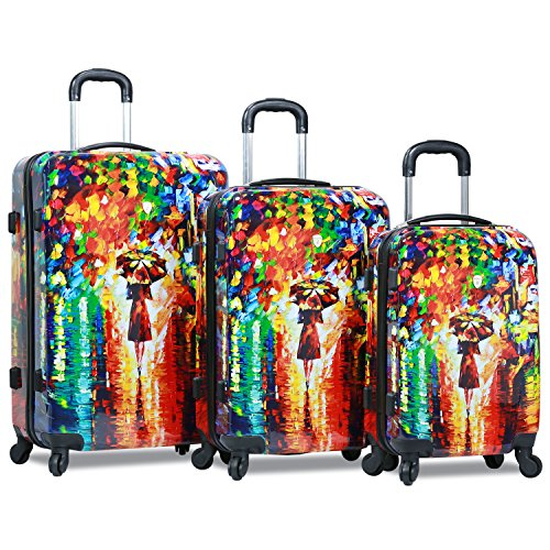 Dejuno 3-Piece Lightweight Hardside Spinner Upright Luggage Set, Parisian Nights