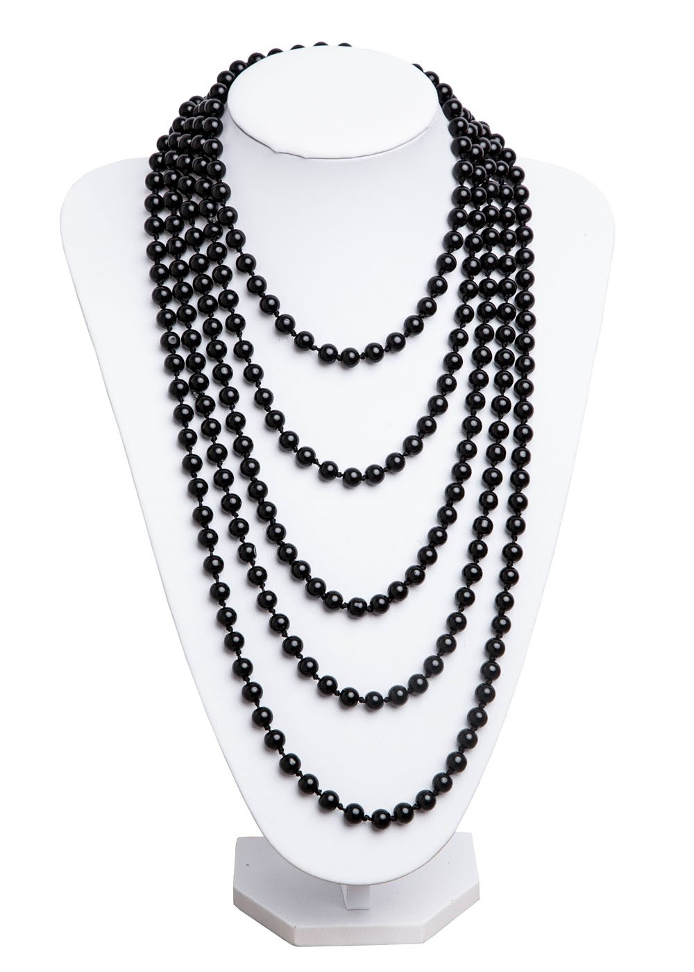 1920s Pearls Necklace Gatsby Accessories Vintage Costume Jewelry Faux Ivory Pearl Cream Long Necklace for Women (Black-1)