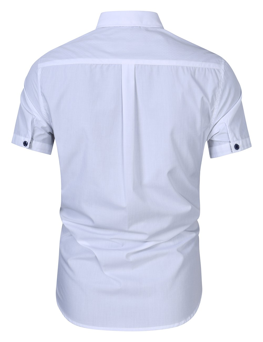 Kuulee Men's Casual Slim Fit Short Sleeve Button Down Business Shirt Cotton Dress Shirts White XXL by Kuulee (Image #3)