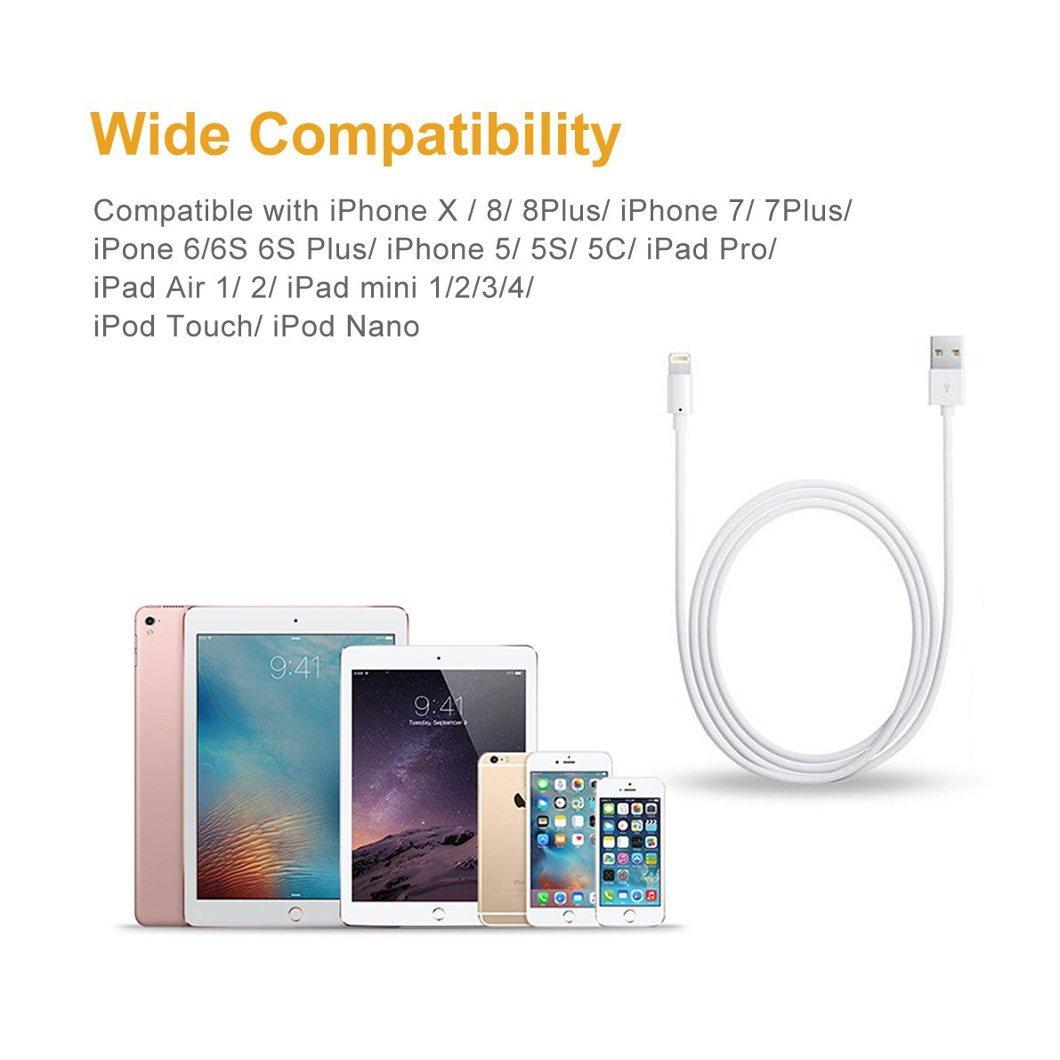 For iPhone Charger Cable BUDGET & GOOD 8 Pin Lightning to USB Cable 3 Pack 6ft Certified iPhone Charging Cord for iPhone X 8 8 Plus 7 7 Plus 6s 6s Plus 6 6 Plus SE 5s 5c 5 iPad iPod White by BUDGET & GOOD (Image #7)