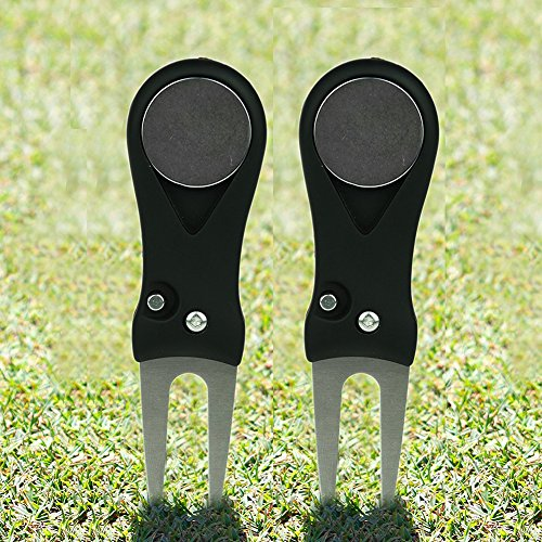 Repair Ball Mark (Golf Divot Tool, Smartlife15 Switchblade Divot Repair Tool with Pop-up Button & Magnetic Ball Marker Pitch Mark Lightweight Portable and Foldable, Gifts Choice)