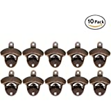 Cherry Juilt 10 Pack Bottle Opener Wall Mounted Rustic Beer Opener Set Vintage Look with Mounting Screws for Kitchen Cafe Bars