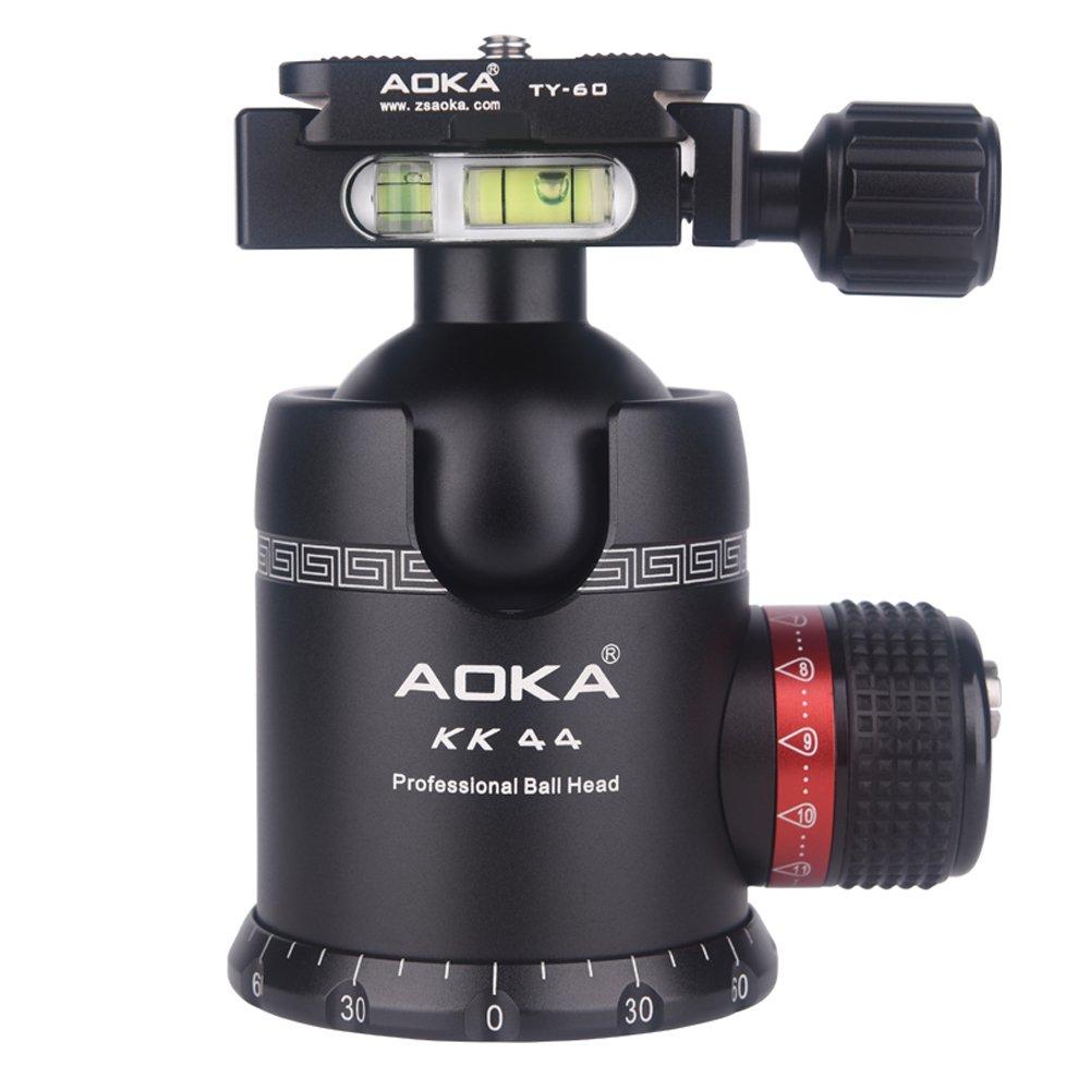 Aoka流体回転三脚ボールヘッド360度パノラマAlluminium合金Heavy Duty Ballhead kk44三脚ヘッドクイックリリースプレート   B077YD79CD