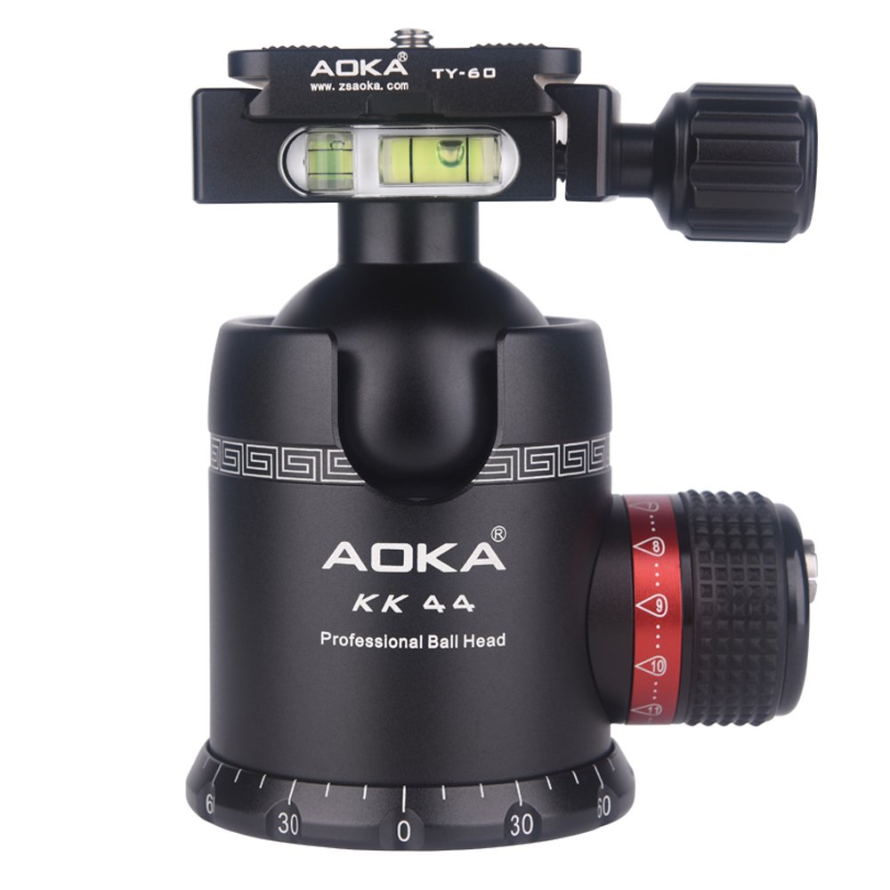 AOKA tripod ball head 360 degree fluid rotation panoramic alluminium alloy heavy duty ballhead KK44 tripod head with quick release plate by AOKA (Image #1)