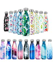 Fancytimes Stainless Steel Water Bottle Vacuum Insulated Water Bottles Reusable Double Walled Drinks Bottle 500ml/750ml/1000ml - BPA Free,Leak-Proof Sports Flask Keeps Cold for 24 Hrs, Hot for 12 Hrs