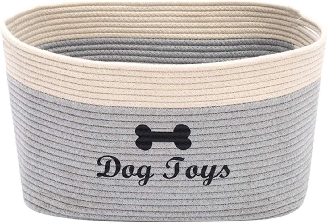 Morezi - Cesta de juguete para perros con asa, cesta de perro grande, cama para mascotas, caja de juguete para mascotas, perfecta para organizar juguetes de mascotas, mantas, correas, color gris