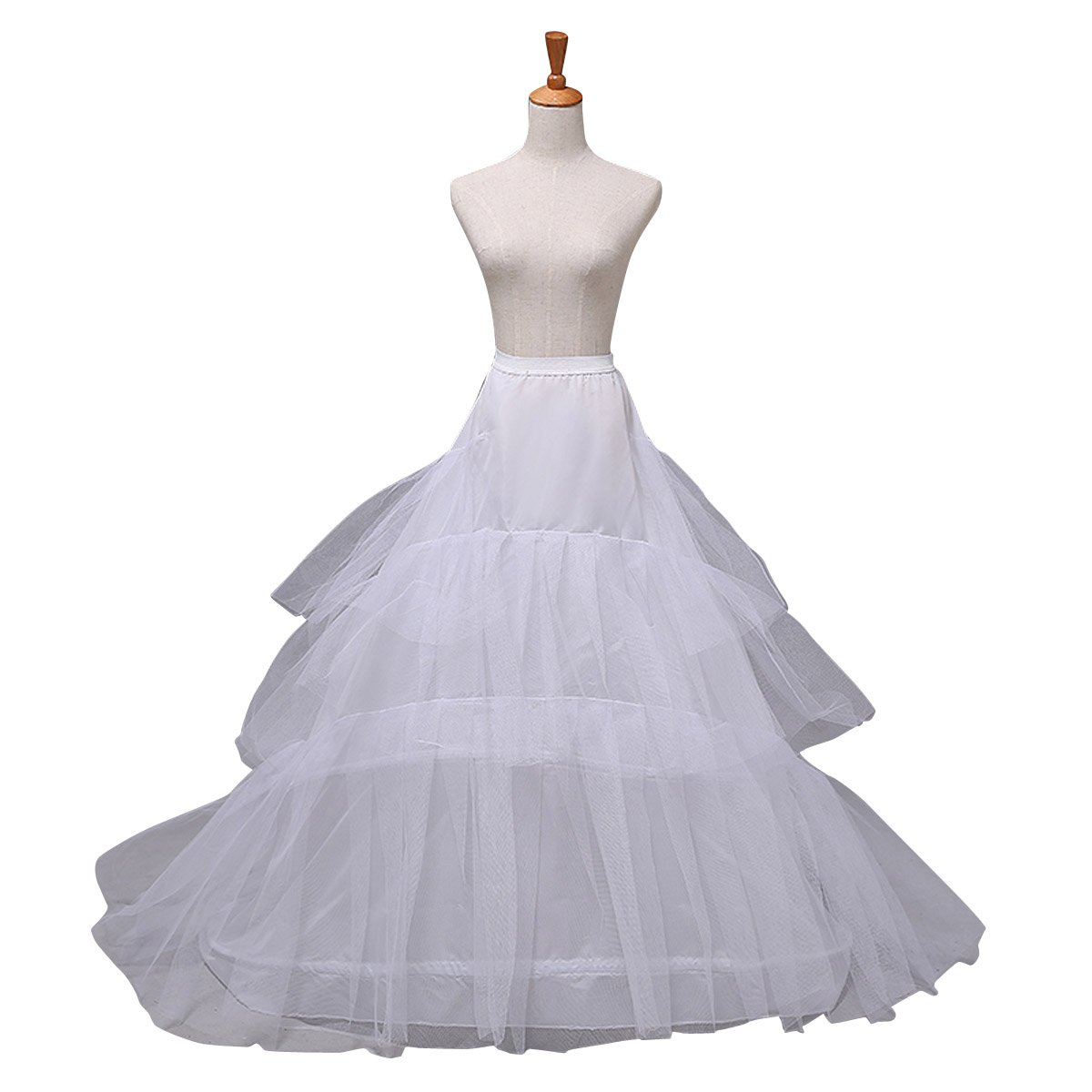 Clearbridal Women\'s White Wedding Petticoats 2 Hoops 3 Layer Bridal ...