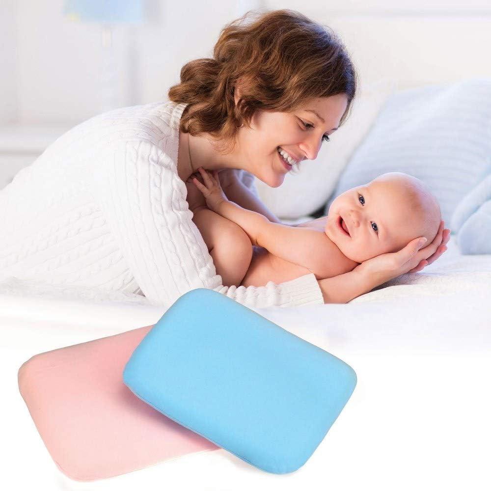 Entanglement® Almohada bebe plagiocefalia Azul - Latex 100% Natural - Para prevenir o curar la Cabeza Plana - Cojin infantil para cuna o cochecito con funda de algodon - antiasfixia (Blu)