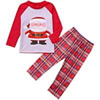 BaZhaHei-Navidad Mamá Papá Noel Tops Blusa Pantalones Pijamas Familiares Ropa de Dormir Trajes de Navidad Conjunto Traje…