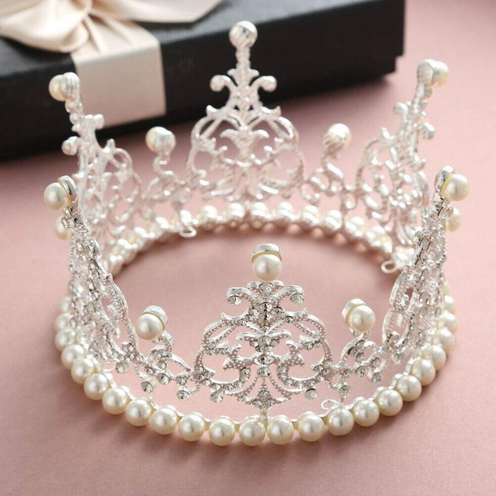 Crown Cake Topper Decoration- Gold/Silver Decorations with Rhinestones and Pearls Vintage Style Royal Centerpiece for Birthdays, Quinceaneras, Weddings,Bridal/Baby Showers, Prince/Princess