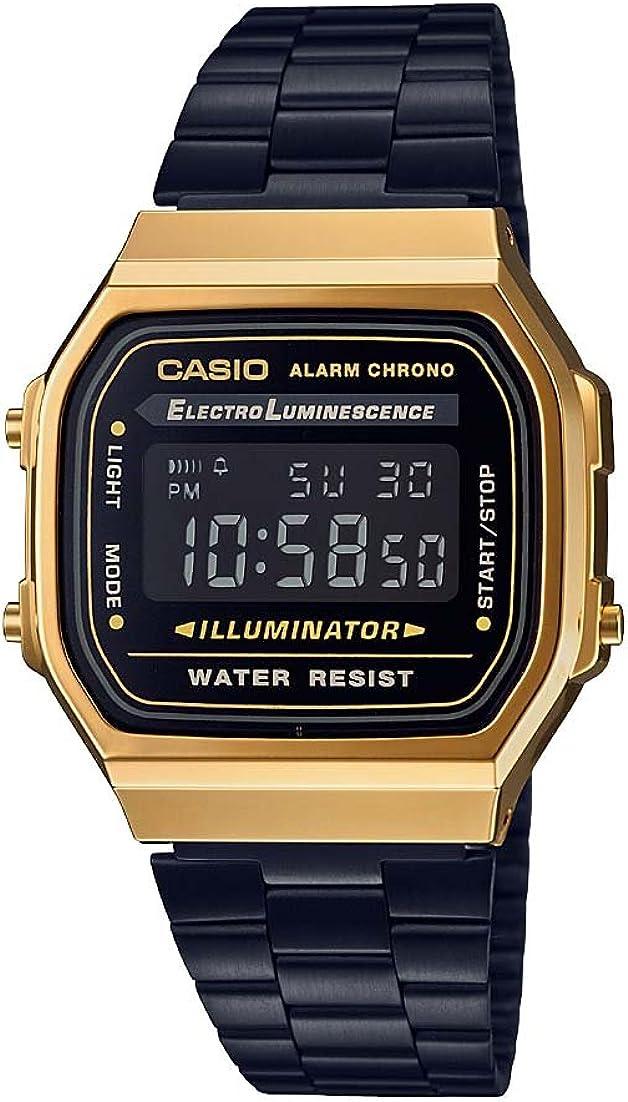 Casio A168WEGB-1B Unisex Collection Black Steel Bracelet Watch