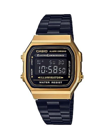 6df246fb64f Relógio Casio Unissex Vintage A168WEGB-1BDF - Dourado Preto  Amazon ...