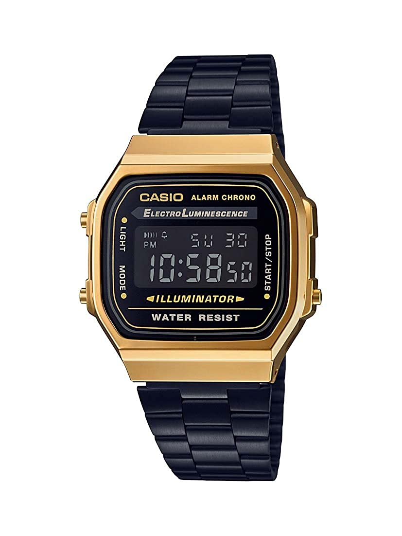 Casio A168WEGB-1B Unisex Collection Black Steel Bracelet Watch