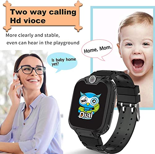 HuaWise Kids Smartwatch SD Card Included , Waterproof Smartwatch for Kids with Quick Dial, SOS Call, Camera and Music Player, Birthday Gift Game Watch for Boys and Girls Not Support AT T Black