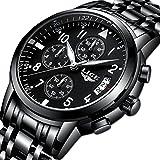 Mens Watches Stainless Steel,LIGE Waterproof Chronograph Sport Analog Quartz Watch Gents Date Business Casual Luxury Dress Wrist Watch Black