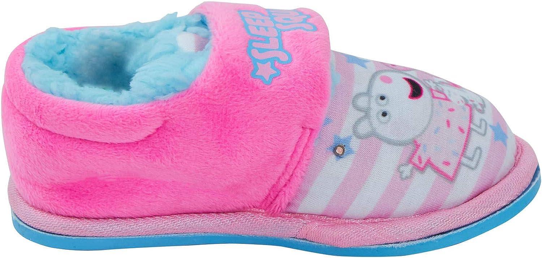 Peppa Pig Girls Light Up Slippers Kids Fleece Fur Lined Flashing Lights House Shoes Booties