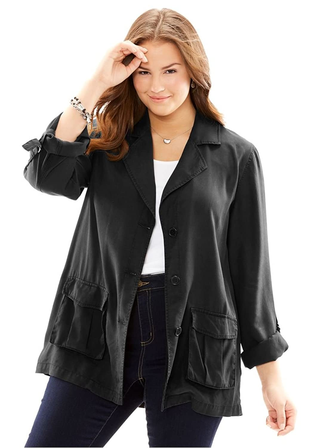 e8a73c1611981 Woman Within Women s Plus Size Lightweight Utility Jacket ...