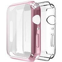 Simpeak Funda para Apple Watch 40mm [2 Unidades], Funda Apple Watch Series 4 Slim Suave TPU Protector de Pantalla de Metálico Ligero Anti-Arañazos,Oro Rosa+ Transparente