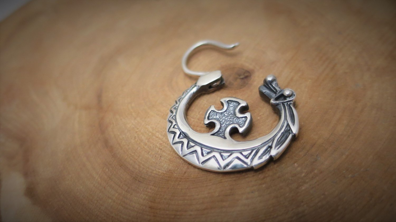 Dragon hoop earring Viking Celtic style sterling silver slavic cossack male handcrafted earrings Unisex