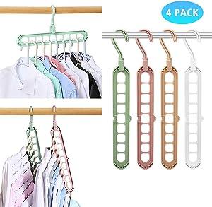 Magic Space Saving Clothes Hangers Multifunctional Smart Closet Organizer Premium Wardrobe Clothing Cascading Hanger 9 slots, Innovative Design for Heavy Clothes, Shirts Pants Dresses Coats(4 Pack)