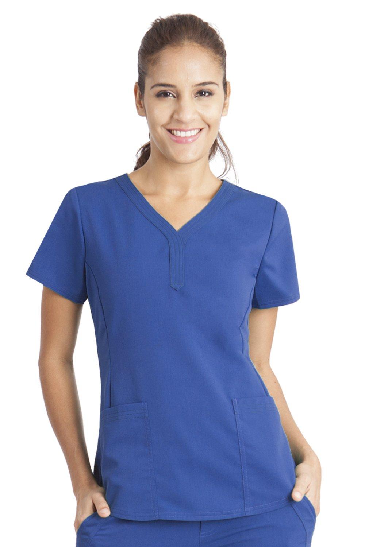 Purple Label by Healing Hands Scrubs Women's Jane V-neck 2 Pocket Top, X-Large - Royal