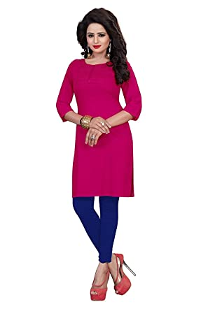Vaikunth fabrics Women's Cotton Pink New Style Low Price Party Wear Kurtis/Kurtas For Women Kurtas at amazon