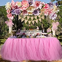 Table Skirt Tulle Table Skirt for Girl Princess Party Baby Shower Slumber Party Wedding Birthday Parties Decoration (Pink)