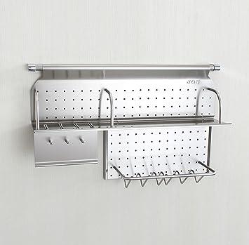 Estante de especias de acero inoxidable montado en la pared con ganchos y escurridor de platos / estante de cocina / estante de cocina 343: Amazon.es: Hogar