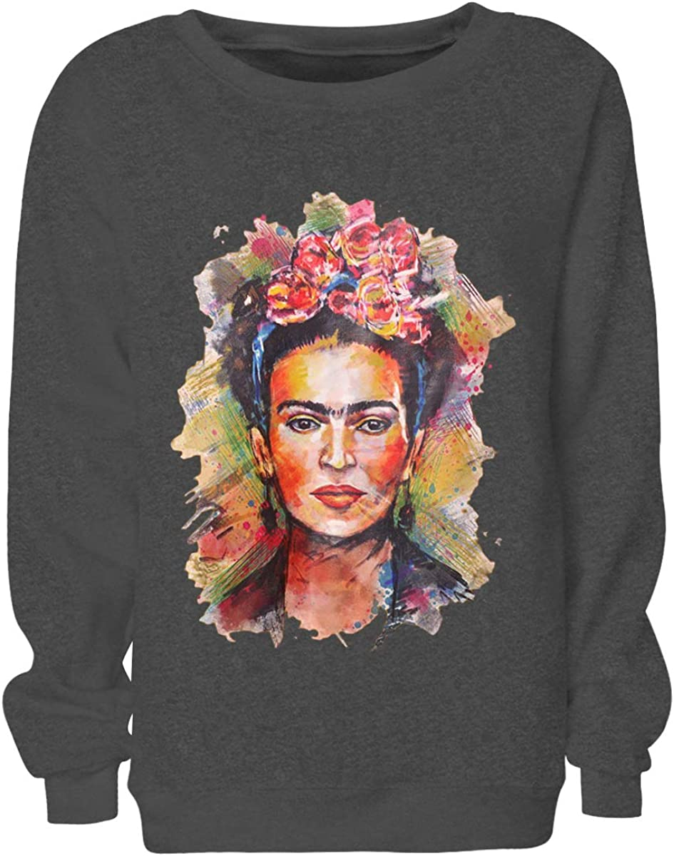 TALLA L. Jxtujnsawu Frida Kahlo Imprimir Hoodie Sudadera con Cuello Redondo Mujer Sudadera con Cuello en u Manga Larga Jerseys
