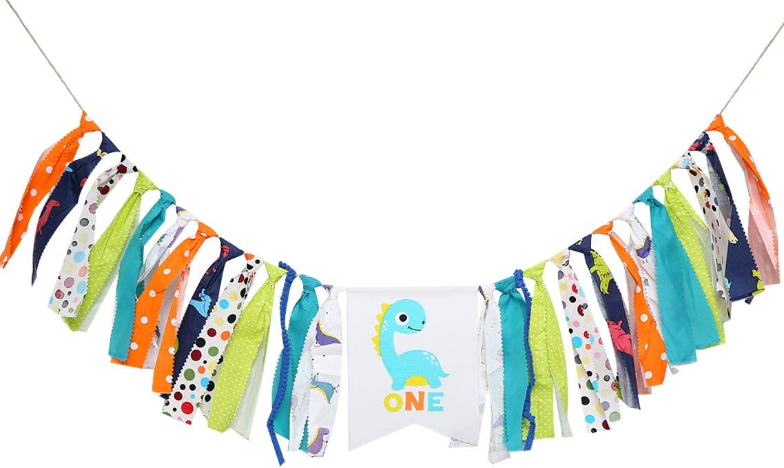 Dinosaur Birthday Party Supplies for 1st Birthday - Dinosaur Highchair Banner for Photo Booth Props and Backdrop Cake Smash,Best Dinosaur Birthday Decorations for Baby. (Dinosaur Birthday Banner)