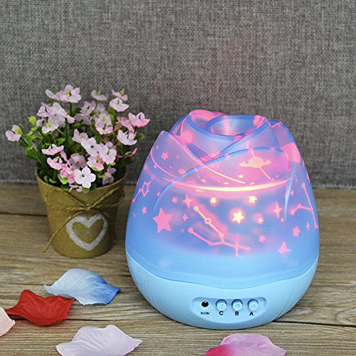 Auto Rotating Rose Star Night Light Romantic LED Projecto...