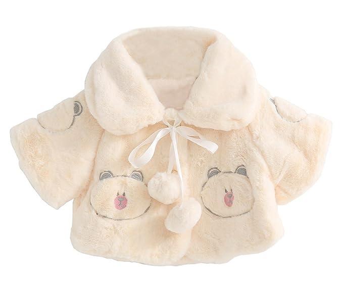 f404f013e Amazon.com  SMILING PINKER Baby Girls Faux Fur Cloak Bear Pattern ...