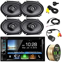 Kenwood DDX6703S Stereo w/ 6.2 Touch Screen + 2 x Kenwood KFC-C6895PS 720W 6x8 3-Way Black Speaker (2 PAIRS) + PYLE PLCM22IR Rear View Camera with Night Vision + Enrock 14 Gauge 50FT Speaker Wire