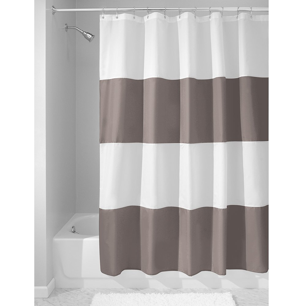 InterDesign Zeno Fabric Shower Curtain Long Polyester Screen With Block Colour Pattern Design