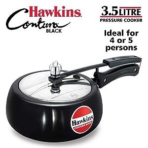 Hawkins CB35 Hard Anodised Pressure Cooker, 3.5-Liter, Contura Black