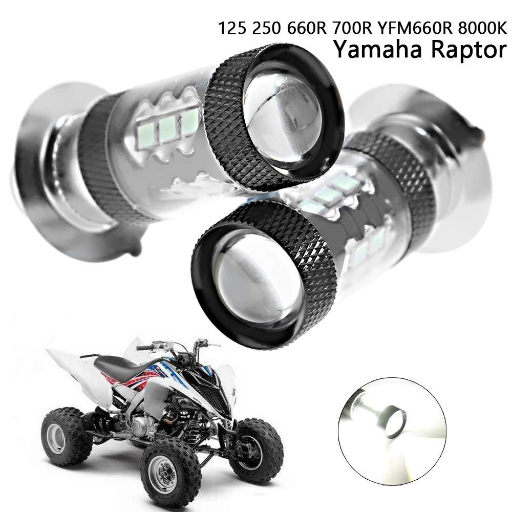 80W LED Headlight Bulbs Super White 8000K for Yamaha Raptor 250 660R 700R YFZ450 YFZ450R YFZ450SE YFZ450X Rhino 700 Kodiak 400 Grizzly 400 450 660 Banshee 350 Bear Tracker 250 Big Bear Blaster Breeze Anxingo