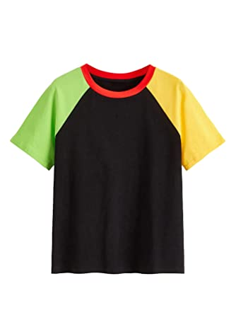 eb00d12821 SheIn Women's Casual Cute Graphic Crew Neck Tops Short Sleeve Tees X-Small  Color Block