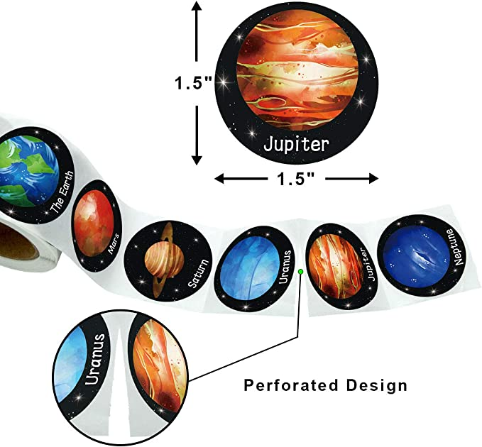 200pcs Fancy Land Solar System Stickers Realistic Planet Outer Space and Cute Animal Sticker