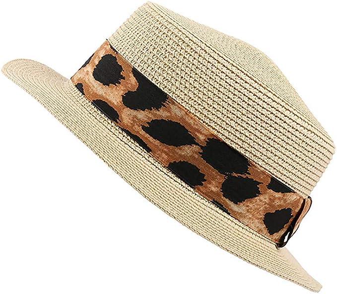 Longra💞 Sombrero de Leopardo de Playa para Mujer - Gorra de Paja ...