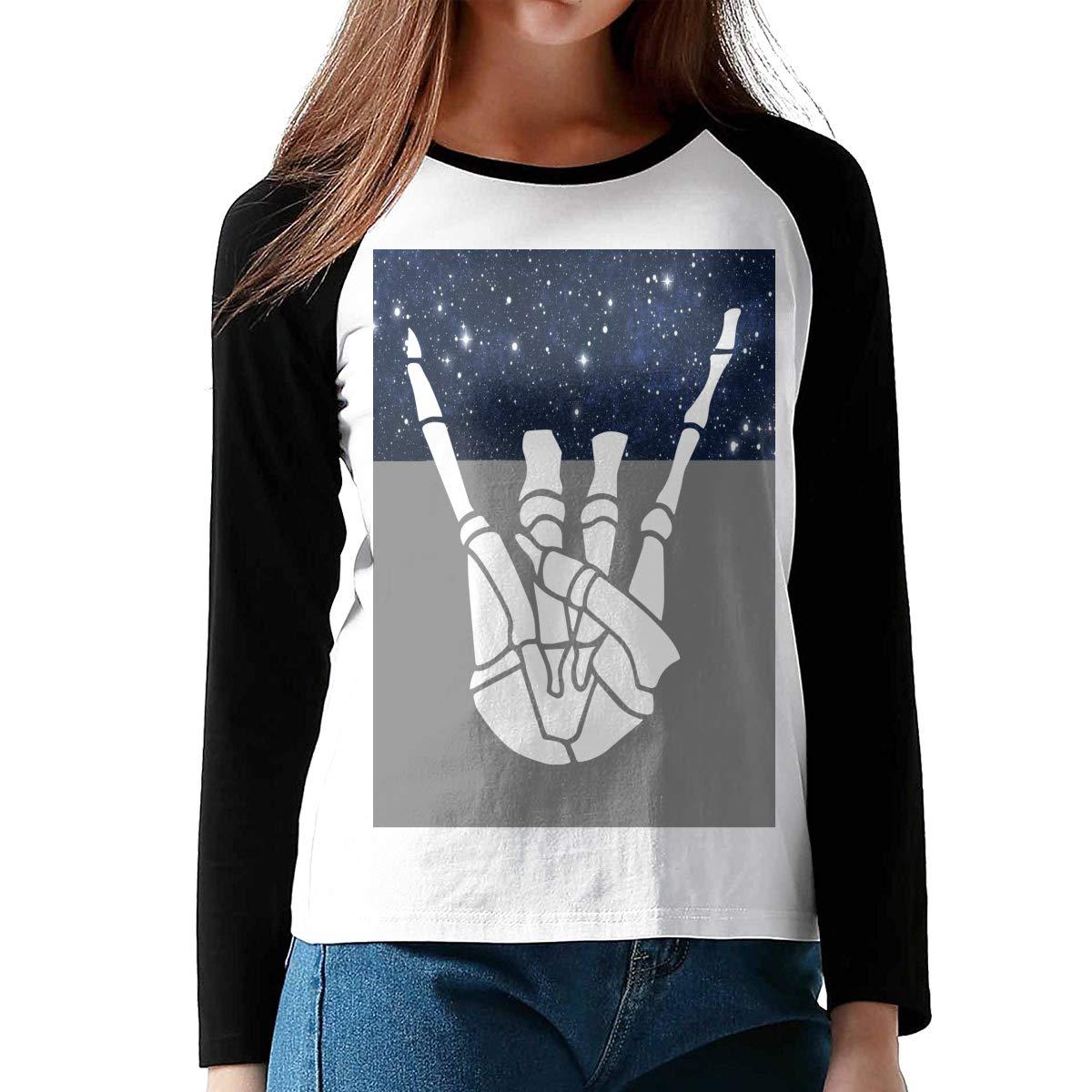 Skeleton Rock Ladies Long Sleeve T Shirt Contrast Raglan Jersey Tees