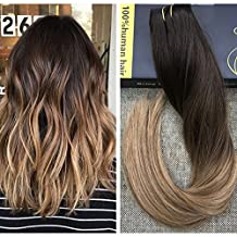 Ugeat 14inch 50Gram Brazilian Remy Hair 3/4 Full Head One Piece Clip in Hair Extensions with 5 Clips Ombre Balayage Hair #2 Darkest Brown Fading to #6 Medium Brown Mixed with #12 Blonde Clip in Extensions