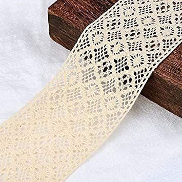 hand dyed 6 1//2 inches wide cotton lace trim 1 yard