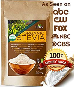 Organic Stevia Powder 125g (4.4oz / 3125 Servings) Premium USDA Certified All Natural Alternative Sweetener 320x Sugar Free Non-GMO 0 Calories Vegan No Aftertaste Kosher No additives & fillers Extract