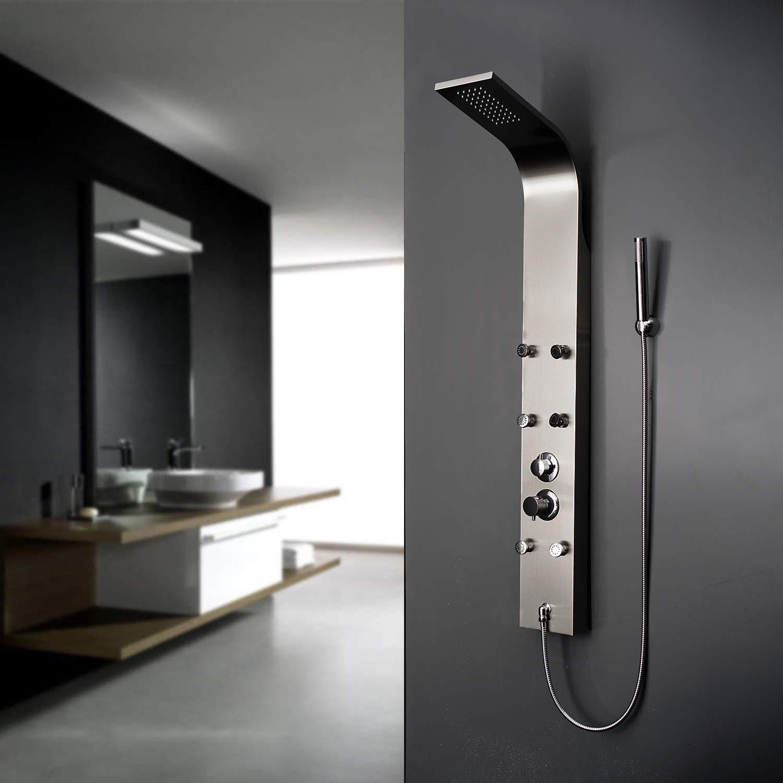 Panneau Colonne de douche avec mitigeur 3 modes de douche diff/érents Elbe Colonne de douche hydromassante avec 6 jets de massage Syst/ème de douche pour salle de bain/_RNP-N07