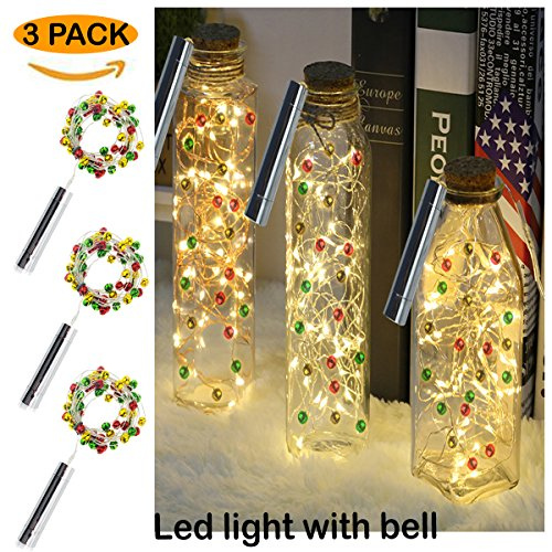 Led Wine bottle string lights warmwhite 30LEDS/3m&30 Colorful Bells for Bottle DIY, Party, Decor,bed room,Christmas tree, Halloween, Wedding,Mood Lights,Festival,Barbecue, Garden and kitchen 3 packs
