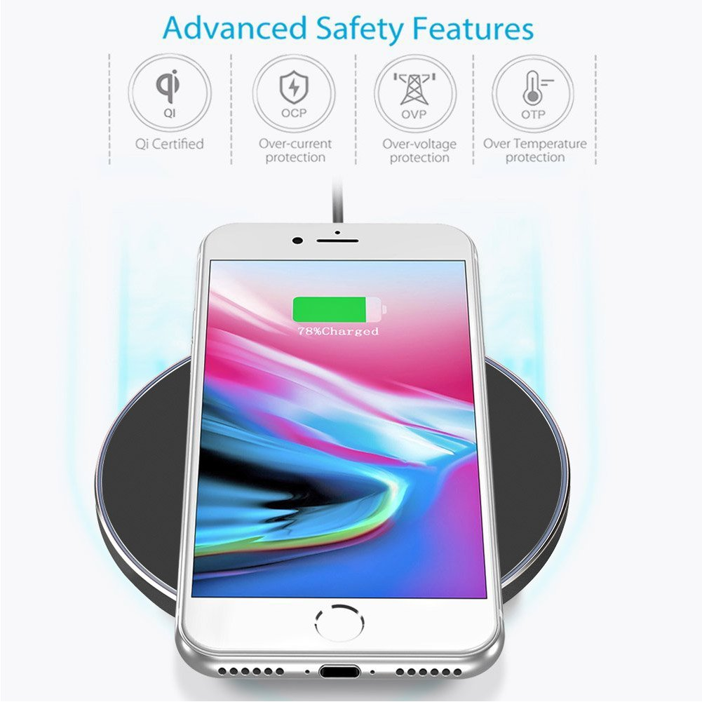 Qi Wireless Charger for Samsung Galaxy S9 / S9 Plus-XIAOWU Wireless Charging Pad for iPhone 8/ iphone 8 plus / iphone X - Fast Wireless Charger Galaxy S8/ S8 Plus/ S7 / S6 / Note 8 / Note 5 (Black)