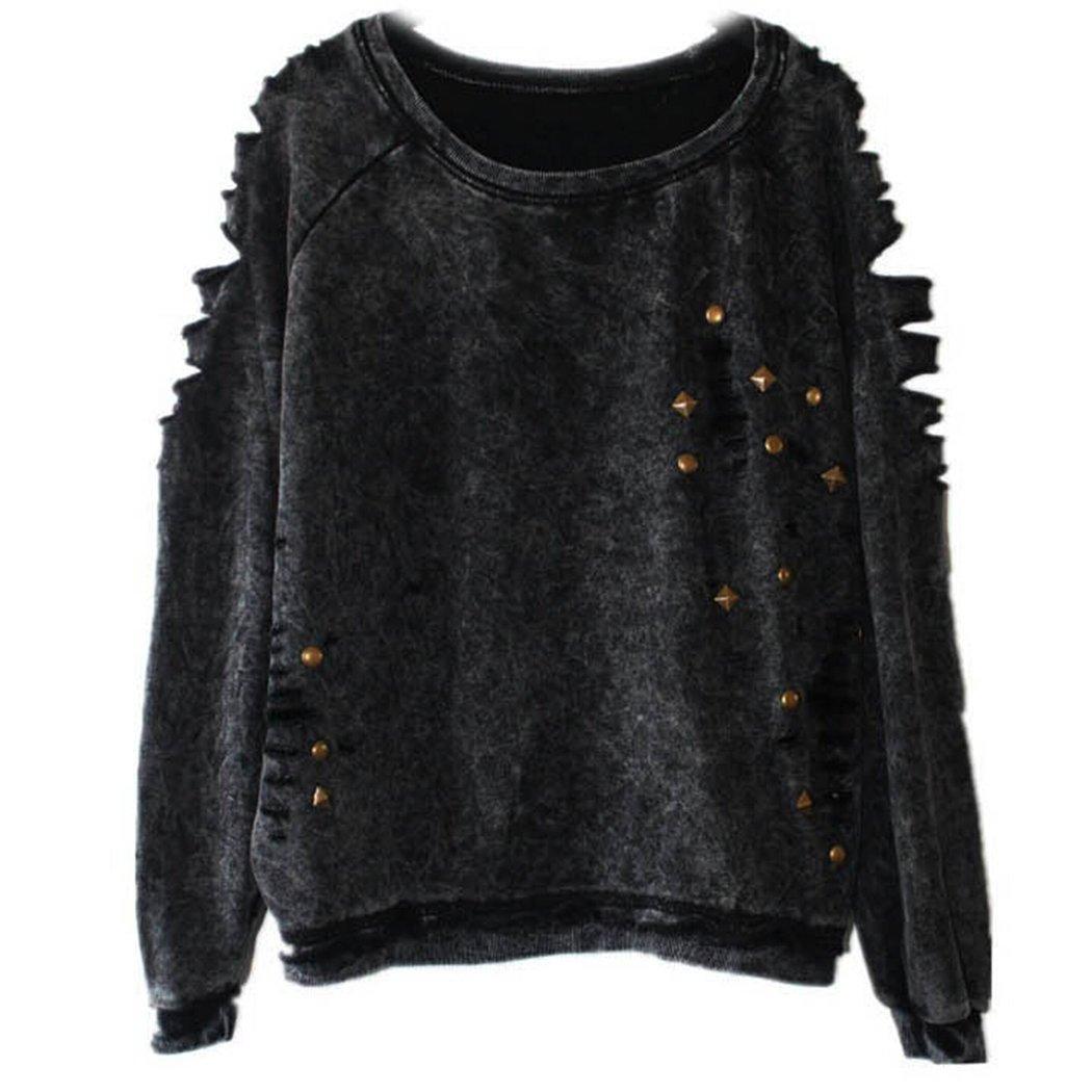 Anna-Kaci Women Herbst Black Rivet Punk Style Casual hole Pullover Sweater ZJ2108
