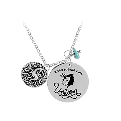 Amazon VWH Women Jewelry Necklace Round Stainless Steel Tags